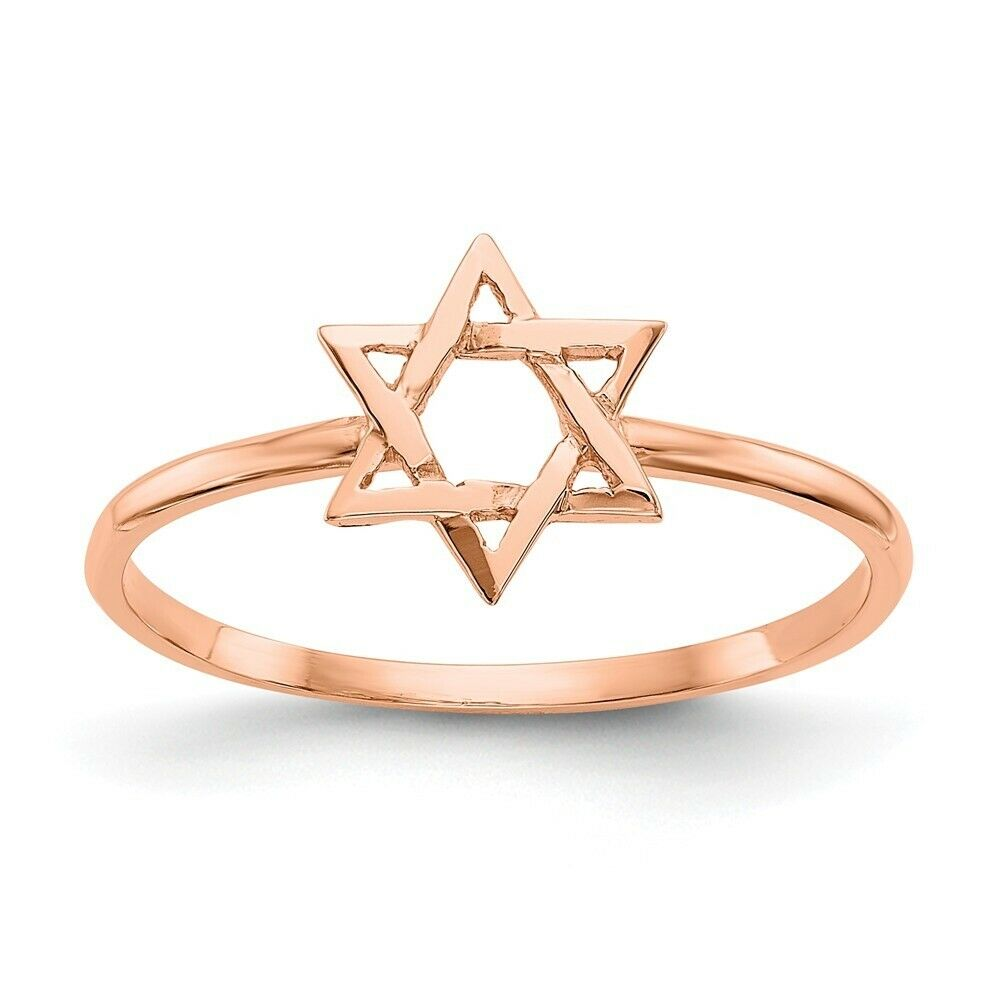 Genuine 14k pink gold Polished Star of David Ring  0.83 gr