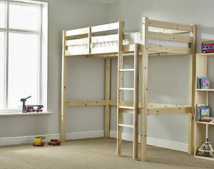 Image Is Loading Heavy Duty Solid Pine High Sleeper Bunk Bed