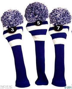 3-5-7-Classic-BLUE-WHITE-KNIT-POM-golf-club-Headcover-vintage-Head-covers-Set