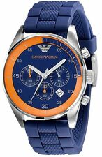 ** NEW ** Emporio Armani® watch AR5864 Blue/Orange men`s CHRONOGRAPH