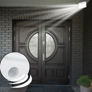 LED-Wand-Leuchte-Aussen-Beleuchtung-Garage-Bewegungsmelder-Strahler-6x-Batterie