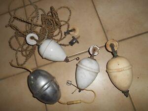 lot-Ancienne-Poulie-Porcelaine-Ancien-Contre-Poids-Monte-Baisse-Lampe-Lustre