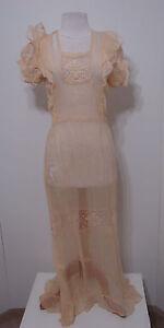 Vintage-1920-039-s-Dress-ECRU-Raw-Silk-Crochet-Cut-Out-Snap-Side-Puff-Sleeve-Ruffle
