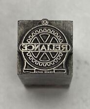 Vintage Letterpress Printers Block Reliance Zinc Plate Solid Metal