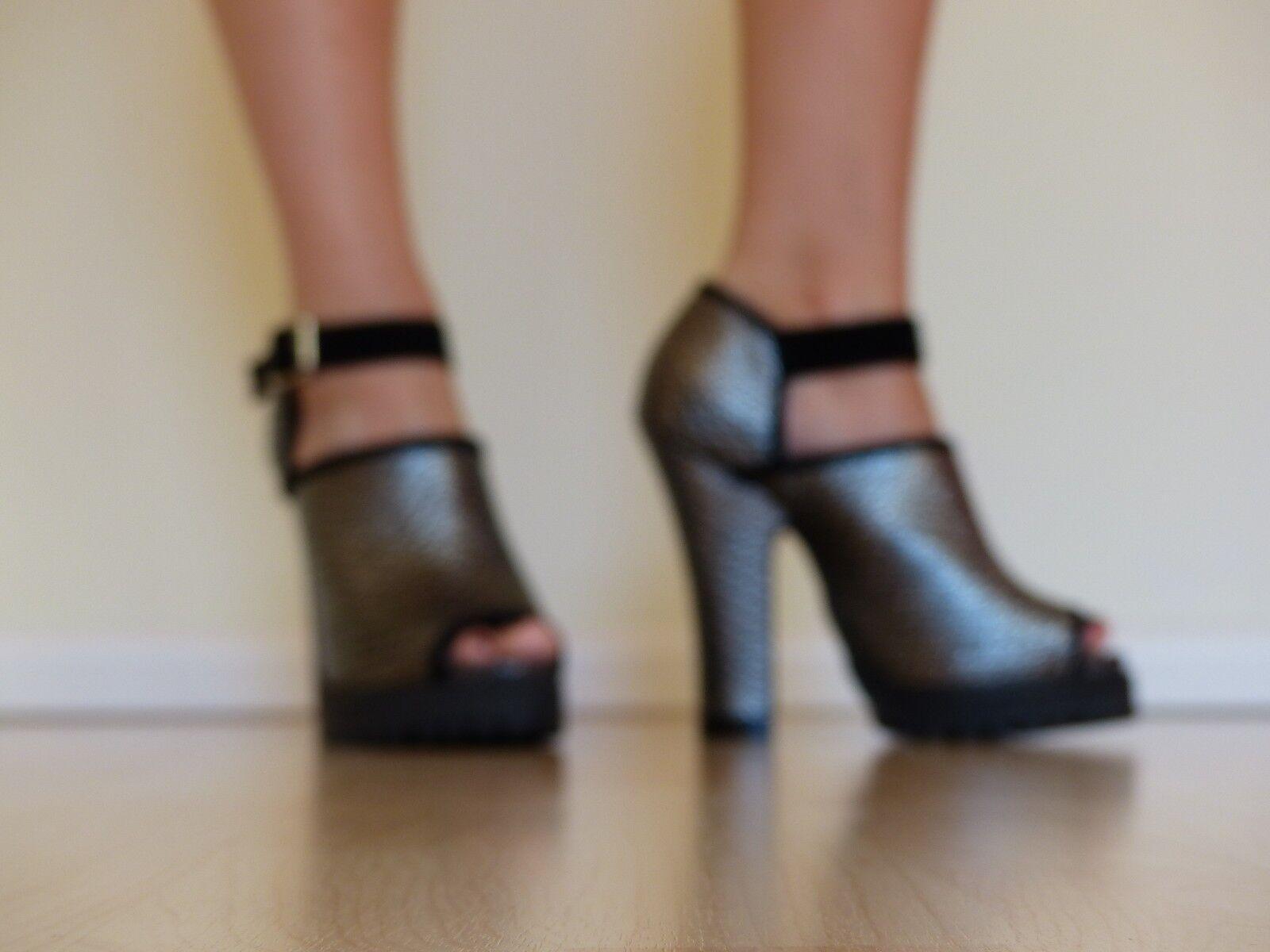 Shellys London Acywen Leder Peep Toe Heels Pumps Leder Acywen Gr. 38,5 schwarz silber NEU bf93db