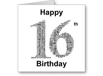 Personalised Printed Typographic Sixteen/ 16th Birthday Card/ Gift Male/Female