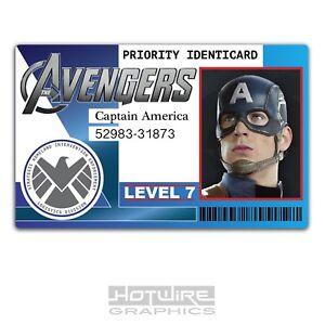 Marvel America Captain Prop tv Film Id Identicard - Card amp; Avengers Ebay Plastic