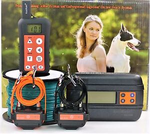 Remote-2-Dog-Training-Collar-In-ground-Electric-Containment-Fence-System-Combo