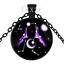 3 Pcs 12 constellation série Rétro en Verre Noir Collier Pendentif A9