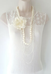 """brooch necklace set Gorgeous 42/"""" long cream layered bead /& removeable flower"""