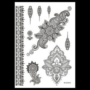 Black Henna Lotus Flower Temporary Tattoos Arms Henna Choker Tattoo