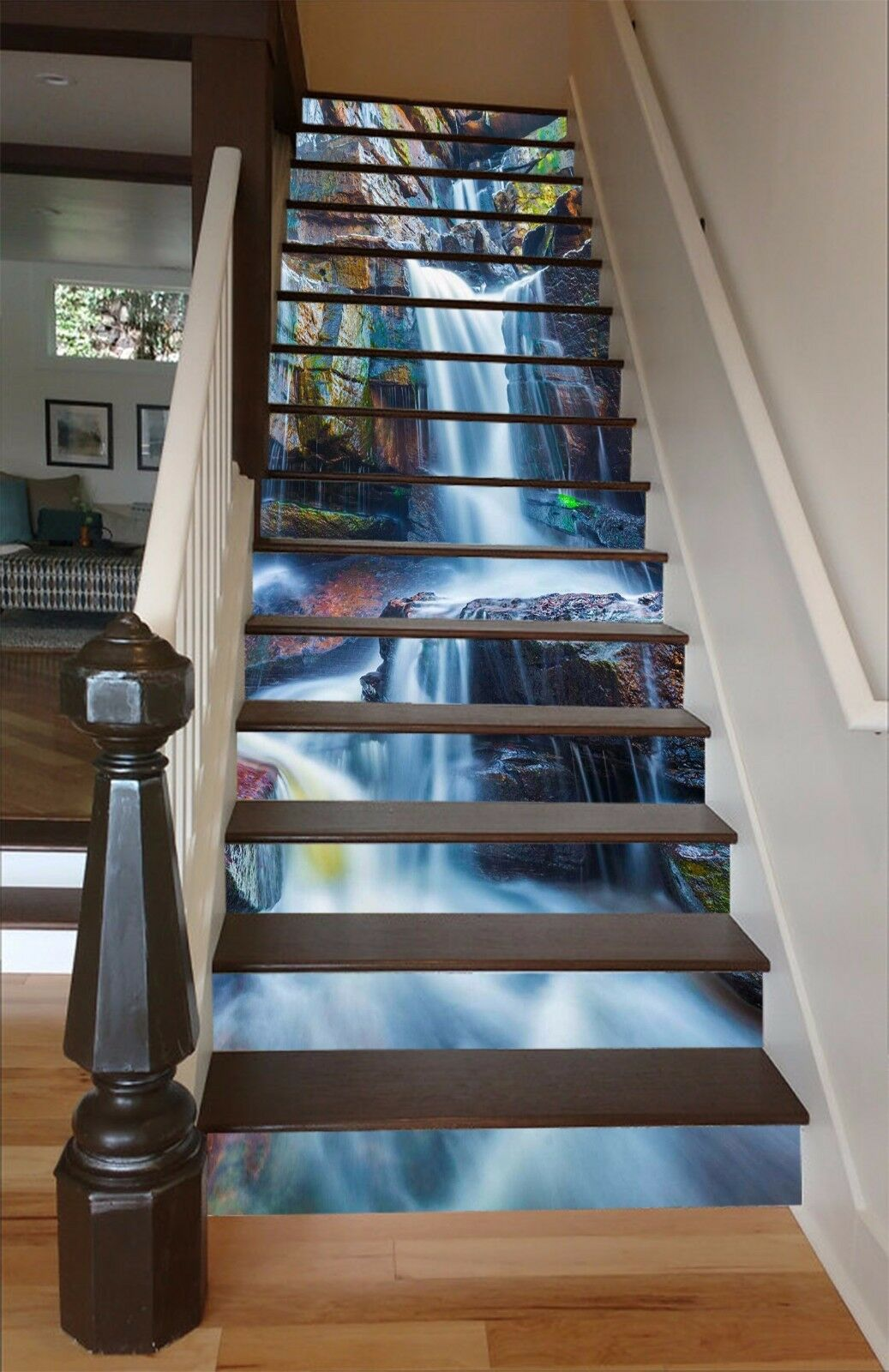 3D Waterfall stone7 Stair Risers Decoration Photo Mural Vinyl Decal WandPapier UK