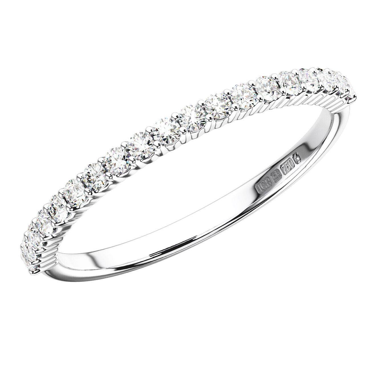 0.30CT Round Brilliant Cut Diamonds Half Eternity Wedding Ring in 18K White gold