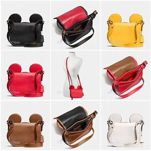 ad9b7bc8 Details about New Disney X Coach F59369 Patricia Saddle Glove Calf Leather  With Mickey Ears