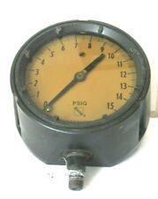 Vintage Ashcroft Psig Gauge Liquid Fill Maxisafe Bronze Tube Heavy 3 12 Pounds