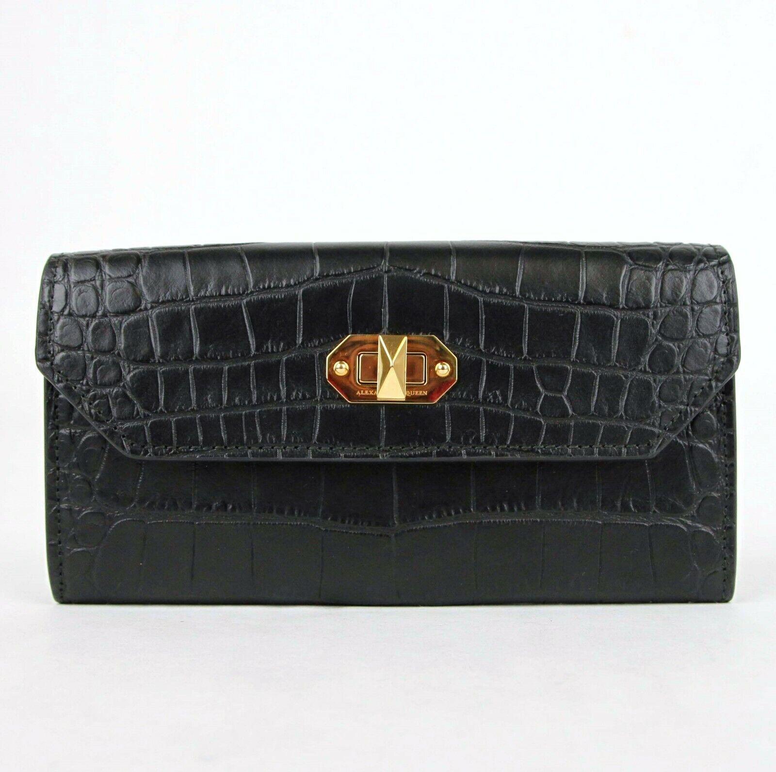 Alexander McQueen Black Embossed Croc Leather Continental Box Wallet 492594