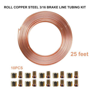 1-Roll-Brake-Pipe-Copper-Line-3-16-25ft-Male-Female-Nuts-Ends-Tubing-Joint-Kit