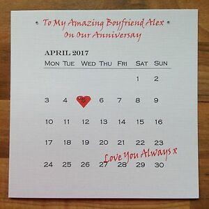 Image Is Loading PERSONALISED Handmade ANNIVERSARY BIRTHDAY Card Calender WIFE GIRLFRIEND
