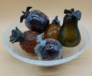 Vintage-Hand-Blown-Crackle-Glass-Fruit-Bowl-Metal-Leaves-Pear-Pineapple-Apple