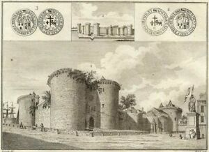 Old-Palace-of-Rouen-and-Coins-Millin-Engraving-Original-18th