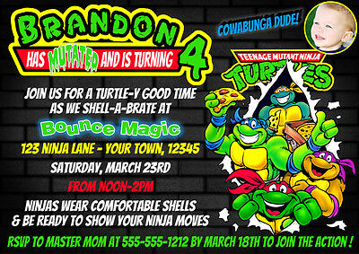 Printed Ninja Turtles Custom Birthday Invitation 4X6 Or 5X7 Size