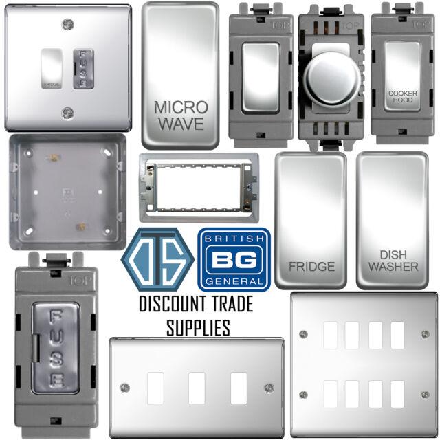BG Nexus Polished Chrome 2 Gang Intermediate Light Switch Custom Grid Switch