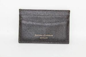 ASPINAL-OF-LONDON-Brown-Saffiano-Slim-6-Slot-Card-Leather-Case-Embossed-NEW