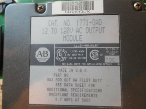 AB PLC CAT# 1771-OAD12 TO120V ACOUTPUT MODULE SER C