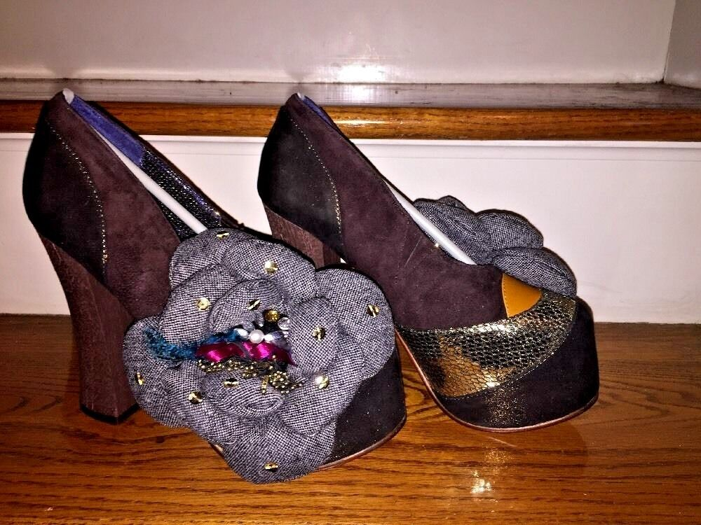 IRREGULAR CHOICE Floral Gem Stones Chunky Wedges HIGH HEELS Womens shoes Sz 9.5