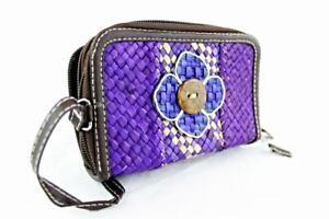 Ladies Women Straw Purse Double Zip Purple Blue White