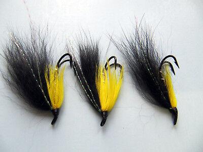3 Yellow Ally/'s Shrimp Double//Treble Hook Salmon Fishing Flies Sizes 8,10,12