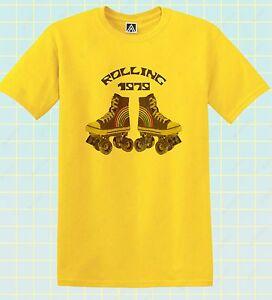 Ogni-1979-T-shirt-dei-pattini-DISCO-PARTY-Tee-Retro-Roller-Boogie-Divertente-Vintage-Top