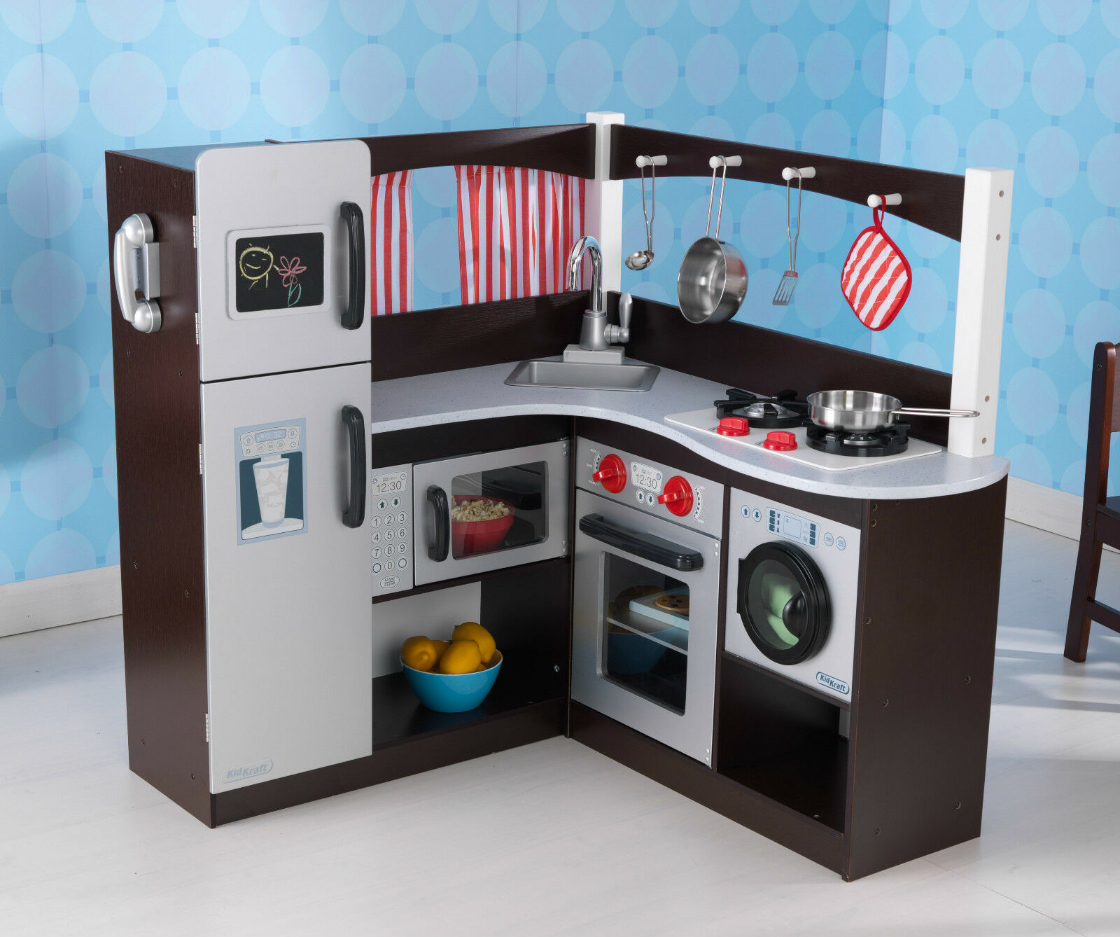 Kidkraft Corner Kitchen: KidKraft Kids Grand Espresso Corner Kitchen Pretend Play