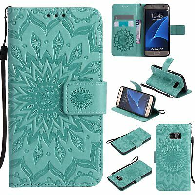Flip Leather Wallet Stand Sun Flower Case Cover For Samsung Galaxy S5 S6 S7 Edge