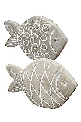 2er Set Deko Figur ~ Fisch aus Beton ~ Fische maritim Design Dekofigur Zierfigur