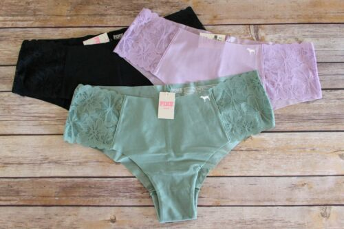 Victoria/'s Secret PINK Lot of 3 No-Show Lace Sides Cheekster Panties Large Multi