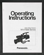 PANASONIC WV-F500 COLOR VIDEO CAMERA INSTRUCTIONS MANUAL