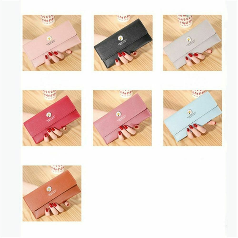 New Large-capacity Simple Korean PU Leather Long Wallet Little Daisy Long Purse