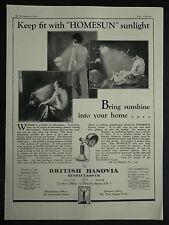British Hanovia Quartz Lamp Sun Lamp 1929 Page Ad Advertisement 6577