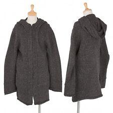 Yohji Yamamoto NOIR Wool linen Hoodie knit Jacket Size 3(K-36534)