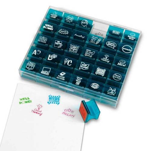 30 Piece Teacher Incentive Rubber Reward Stamps /& Case Learning Resources