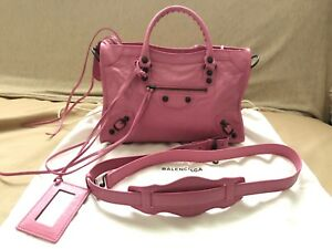 Authentic-BALENCIAGA-Brand-New-Small-Pink-Leather-City-Bag