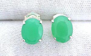 10x8-Oval-Faceted-Chrysoprase-Gemstone-Gem-Stone-Sterling-Silver-Earrings-8174