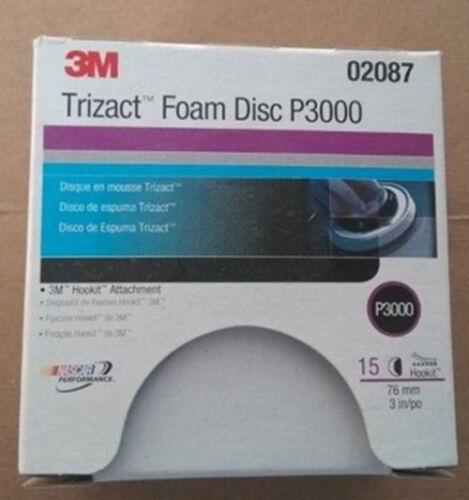 15Pcs//Box For 3M 02087 Trizact Hookit 3 Inch P3000 Grit Foam Disc Automotive