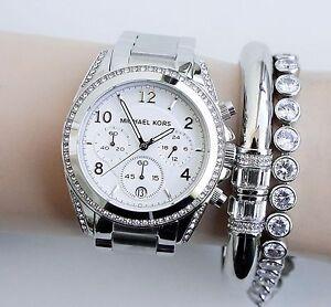Damenuhren michael kors silber  Original Michael Kors Uhr Damenuhr MK5165 BLAIR in Farbe:Silber ...