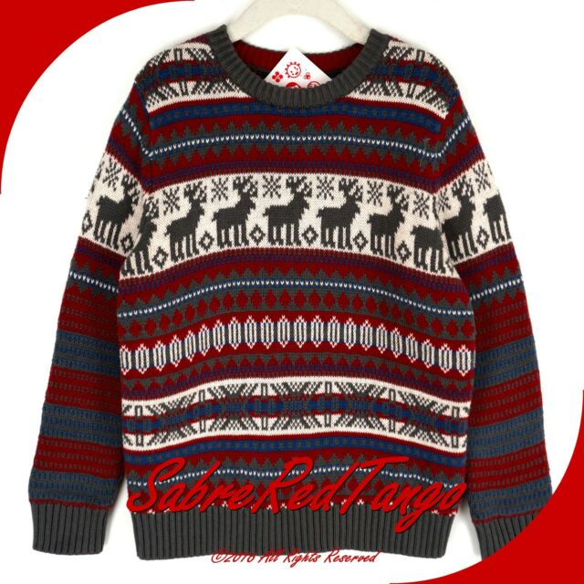 NWT HANNA ANDERSSON REINDEER CREWNECK JACQUARD SWEATER CRANBERRY 100 4T 4