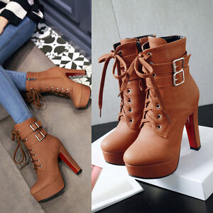 Women-Sexy-High-Heels-Buckle-Strap-Platform-Ankle-Boots-Shoes-US-Size-3-14-B336