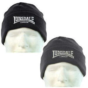 Lonsdale-Beanie-Bobhat-Hat-Cap-Black-or-Grey-Embroided-Logo-One-Size-Muetze-Kappe