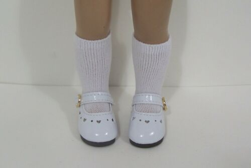 "Debs WHITE Patent Heart Cut-Outs Doll Shoes Fit 10/"" Ann Estelle Sophie Patsy"