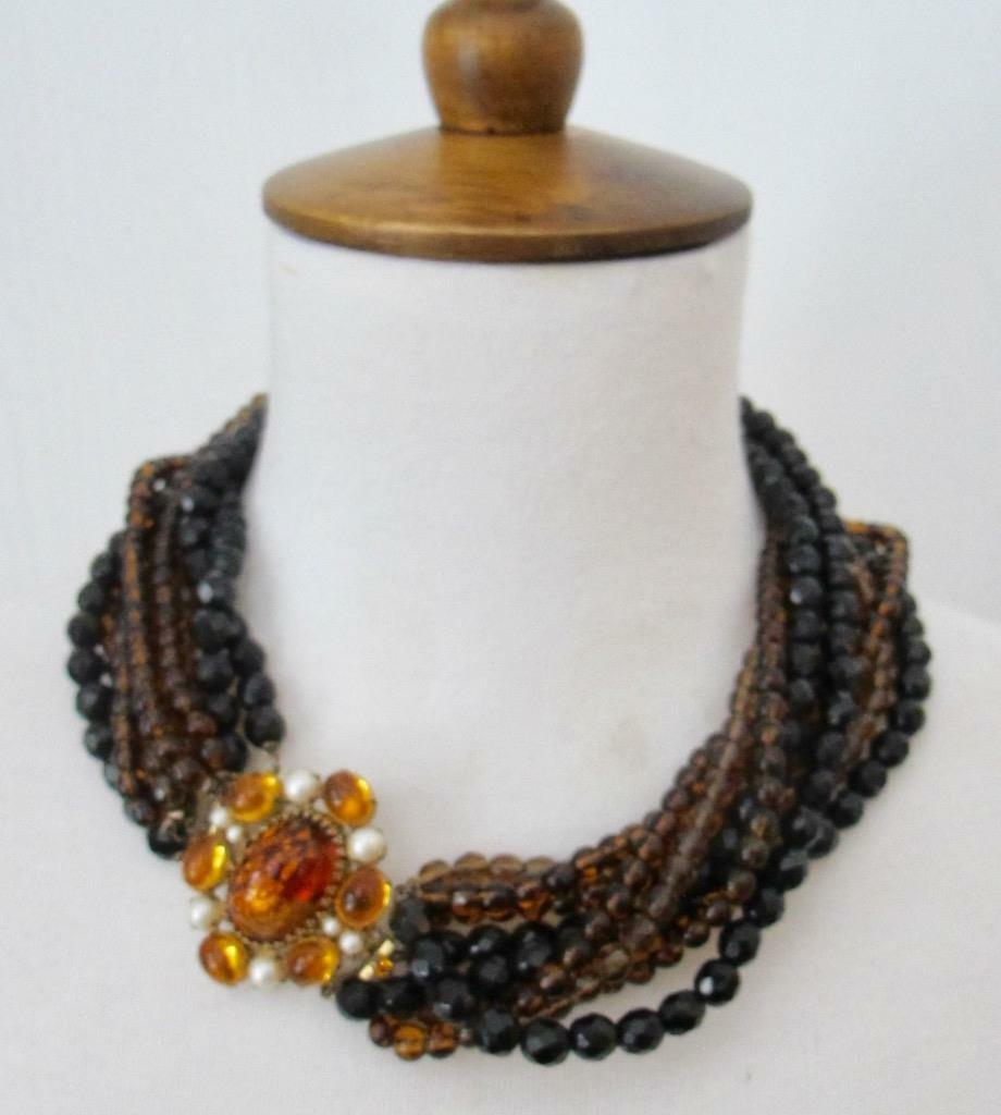 Vintage Arnold Scaasi Necklace Chocker Multi Stra… - image 1